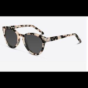 Round Ivory Tortoise Sunglasses, Case, and Cloth